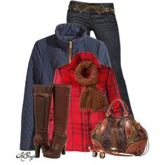 """""""Plaid, Quilted and Leather Style"""" by kginger on Polyvore"""