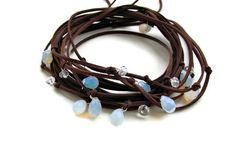 Suede Necklace Brown Leather and Moonstones #suede #necklace #wrap