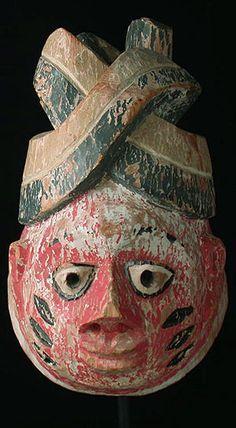 "gelede mask  12"" painted wood"