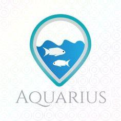 logo with abstract form of an aquarium, consisting of water and fish. (fish, aquarium, water, sea, river, pond, fish farming).