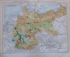 KARTE DER LANDWIRTSCHAFT DEUTSCHES REICHE 1892 alte Landkarte Litho antique map | eBay