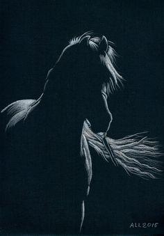 А4/ тонированная бумага для пастели, тиснение холст/ акварельные карандаши Автор: Лариса Андрианова  #art #watercolorpencil #drawing #staedtler #horse #arabian_horse