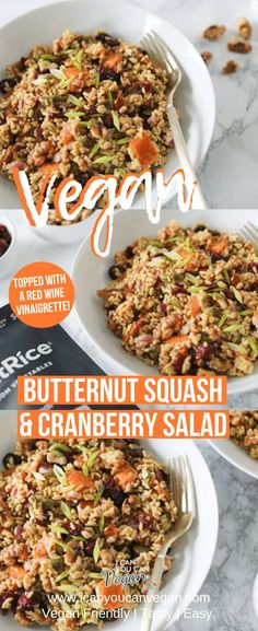 This Roasted Butternut Squash and Cranberry Salad is THE BEST! The perfect combination of sweet and savory, plus it's super easy to make. This salad is made using roasted butternut squash, pumpkin seeds, walnuts, red onion, RightRice and cranberries all topped with an easy red wine vinaigrette! It's the perfect winter salad! #ButternutSquash #WinterSalad #FallSalad #RightRice #RoastedButternutSquash #SweetandSavory #RedWineVinaigrette #HomemadeVinaigrette #EasyVinaigrette
