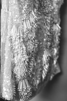 Beaded Dress detail with seed beads, mixed sequins and use of extra long bugle beads to create 3D textures; surface embellishment