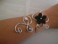 Bracelet Original Noir/Gris/Argenté pr robe de Mariée/Mariage/Soirée/Cérémonie/Coktail Fleurs perles : Bracelet par oiana-creation