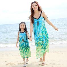 Free Shipping Parent child outfit summer 2017 new mother and daughter dresses sleeveless beach dress Bohemian chiffon long dress