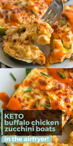 Try these Keto Buffalo Chicken Zucchini Boats packed with tangy buffalo sauce, chicken and cheese! These zucchini boats are cooked in either an air fryer or oven for a delicious low carb meal! Ketogenic Diet Meal Plan, Diet Meal Plans, Ketogenic Recipes, Diet Recipes, Cooking Recipes, Meal Prep, Chili Recipes, Dessert Recipes, Keto Diet Meals