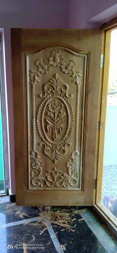 New Door Design, Single Door Design, Wooden Front Door Design, Pooja Room Door Design, Wood Front Doors, Wooden Doors, Front Design, Ceiling Design, Decoration