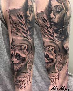 Mo Mori ink raccoon tattoo