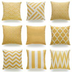 Cheap cushion cover, Buy Quality sofa cushion cover directly from China decorative throw pillows case Suppliers: Decorative Throw Pillow Case Mustard Yellow Geometric Striped Zigzag Chevron Cotton Linen HEAVY WEIGHT FABRIC Sofa Cushion Cover Yellow Couch, Yellow Throw Pillows, Gold Pillows, Cushions On Sofa, Bedroom Yellow, Mustard Bedroom, Yellow Cushions, White Decorative Pillows, Decorative Pillow Cases