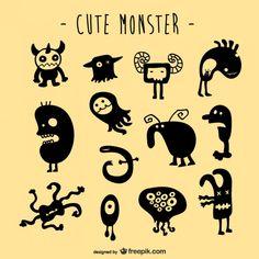 Conjunto criaturas monstro vetor