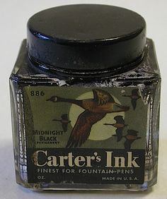 Carter's Cube Ink Bottle No. 886 - Geese flying across a full moon. Originally filled with 2 oz of Carter's Midnight Black Permanent ink,