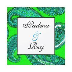 Electric Green & Aqua Paisley Wedding Invitation by IndianInspirations