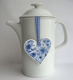 Blue and white porcelain heart   Delftware by HarrietDamave,