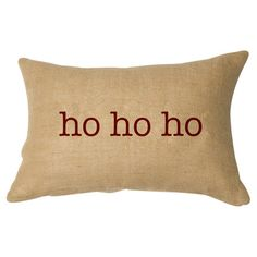 Celebrate the season in classic style with this burlap pillow, featuring a festive typographic motif in red.  Product: Pillow