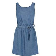 OASIS Supersoft Dress (160 MYR) ❤ liked on Polyvore featuring dresses, vestidos, denim, blue dress, v back dress, oasis dress and tie waist dress