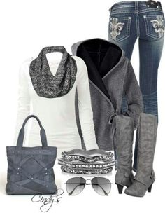 http://fashionworship.com/ love the white shirt/grey scarf combo & the jeans