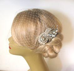 Birdcage Veil Ivory and a Bridal Hair Comb (2 Items) ,Rhinestone Bridal Hair Comb, Weddings, Silver, Rinestone