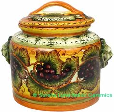 Love the colors and the shape. perfect colors just needs a little navy Ceramic Majolica Biscotti Cookie Jar Tuscan Grapes 27cm