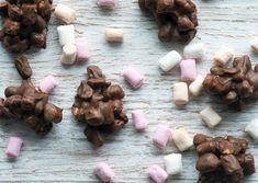 chokoladekonfekt med chokolade, skumfiduser og saltede peanuts - Smagen er en anelse i retning af P-tærter - få opskriften her