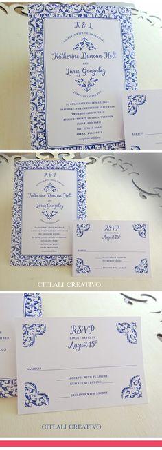 Blue Talavera Turkish / Spanish Tile Wedding Invitations - made to order by citlalicreativo.com