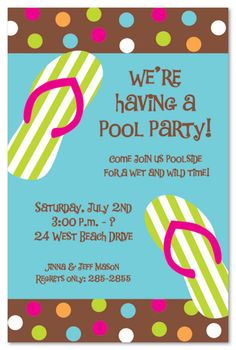 The best way to cool off during hot summer month is at the beach or the pool! Invite friends and family to enjoy the weather with these summer party invites. 7th Birthday, Birthday Parties, Birthday Ideas, Pool Party Invitations, Invites, Fairy Tea Parties, Wet And Wild, Beach Party, Party Cakes