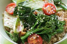 Spicy greens with chilli, garlic and soy rice