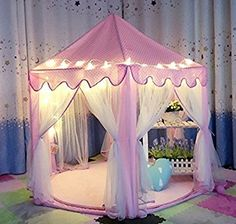 Amazon.com: AuTop Large Indoor and Outdoor Kids Play House Pink Hexagon Princess Castle Kids Play Tent Child Play Tent: Toys & Games