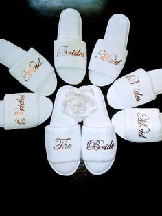 Bridesmaid Slippers - Personalized Slippers - Bride Slippers - Slippers -Bridal Party Slippers - Rose Gold- USA ETA 5 days after shipping Bridesmaid Slippers, Bridesmaid Robes, Bridesmaid Proposal, Brides And Bridesmaids, Bridesmaid Presents, Bridal Party Robes, Gifts For Wedding Party, Party Gifts, Diy Wedding