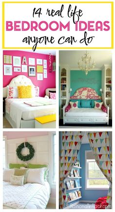 14 Real Life Bedroom Ideas Anyone Can Do Real Life Bedroom Decorating Ideas that anyone can do! Includes ideas for accent walls, headboards, jewelry organization, storage and more! Home Bedroom, Girls Bedroom, Diy Bedroom Decor, Living Room Decor, Diy Home Decor, Bedroom Ideas, 1930s Bedroom, My New Room, Beautiful Bedrooms