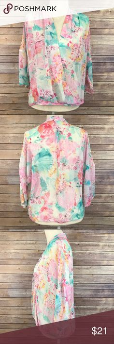 "NWT Chelsea28 Kimono Wrap Top Pastel Floral M A1 Bust: 27"" Length: 23""  Condition: No Rips; No Stains  92% Viscose 8% Elastane   📦I ship orders within 24 Hours! {Except Weekends}📦  🚫No Trades🚫No Holds🚫 Chelsea28 Tops Blouses"