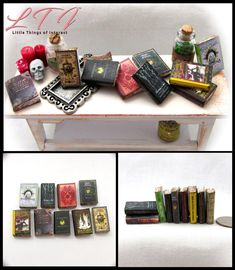 Little THINGS of Interest, Miniature Books and Accessories Mini Things, Little Things, Small Things, Barbie Dolls Diy, Diy Doll, Dollhouse Dolls, Dollhouse Miniatures, Book Wizard, Harry Potter Props
