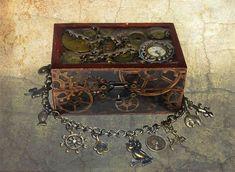Steampunk treasure chest  jewellery box and bracelet