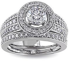 jcpenney FINE JEWELRY 11⁄2 CT. T.W. Diamond 14K White Gold Bridal Ring Set on shopstyle.com