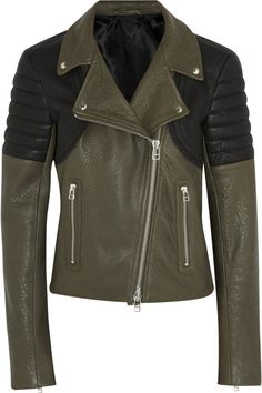 Faith ConnexionTwo-tone textured-leather biker jacket