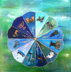 Oil paint- the 12 tribes of Israel