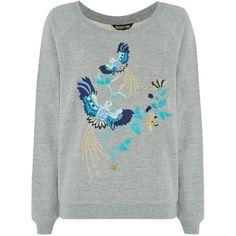 Embroidered birds!  Biba Embroidered slouch sweatshirt Jumper.
