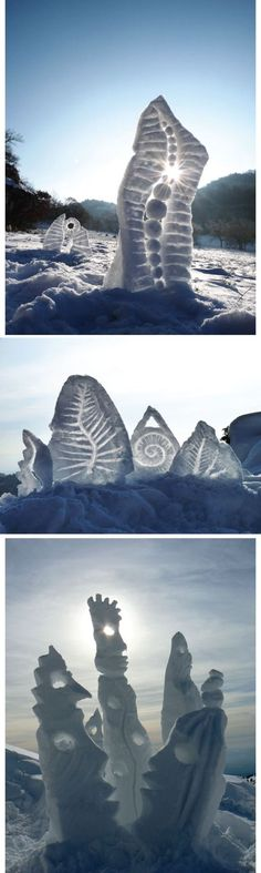 snow sculpture, transforming the landscape in positive ways: