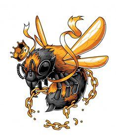 The king bee free from the chain Premium Vector Cartoon Drawings, Cartoon Art, Art Drawings, Graffiti Drawing, Graffiti Art, King Bee, Character Art, Character Design, Bee Free
