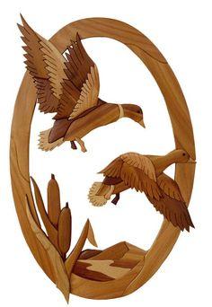 Gielish Wood Sculpture - Intarsia Wood Art - Ducks