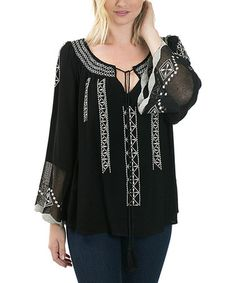 Loving this Black Embroidered Lace-Sleeve Swing Top on #zulily! #zulilyfinds