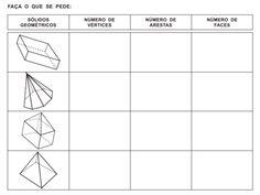 Fichas com atividades variadas sobre sólidos geométricos.