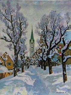 Stanislav Fomenok - Winterallee im Weiler im Allgäu Painting, Art, Kunst, Pictures, Art Background, Painting Art, Paintings, Performing Arts, Painted Canvas
