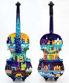"""Painted violin by Cat Pope """"Sights and Sounds of the City"""" Oil on wood violin tumblr / portfolio / facebook"""