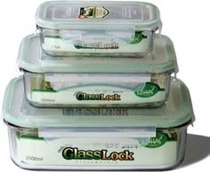 Kinetic Glass lock 1317 Rectangular Glass Food-Storage Containers with Locking Lids, Set of 3 by GlassLock