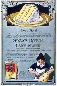Swans Down Cake Flour, 1917 by Gatochy, via Flickr --This ad would be perfect for an invite. So would the product package label.
