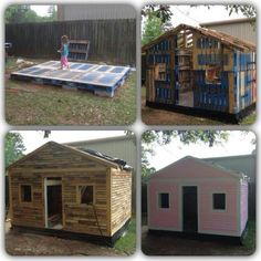 Wood Pallets Garden shed, Wendy house, play house made from recycling upcycling wooden pallets, love it Pallet Playhouse, Pallet Shed, Build A Playhouse, Pallet House, Playhouse Ideas, Pallet Crafts, Pallet Projects, Diy Pallet, Pallet Kids