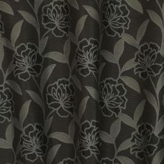 Grey floral drapery fabric - Fioretti Ironsand by Charles Parsons Interiors #grey #fabric #drapery #curtain #floral #charlesparsonsinteriors