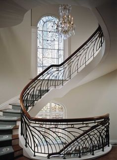 If you& anything like me, you LOVE the Art Deco period. Sleek, sexy lines, classy styling and expensive taste! But there is more to Art Deco than the Great Gatsby! Get the basics of the Art Deco period nailed in less than ten mins in this post. Interior Staircase, Grand Staircase, Staircase Design, Railing Design, Winding Staircase, Spiral Staircases, Townhouse Interior, Curved Staircase, Casa Art Deco