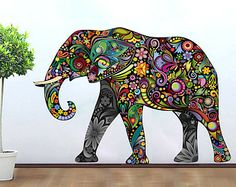 Bohemian elephant drawing | Elephant Decoration Vinyl Wall Art Decal Stickery Colorful Floral ...